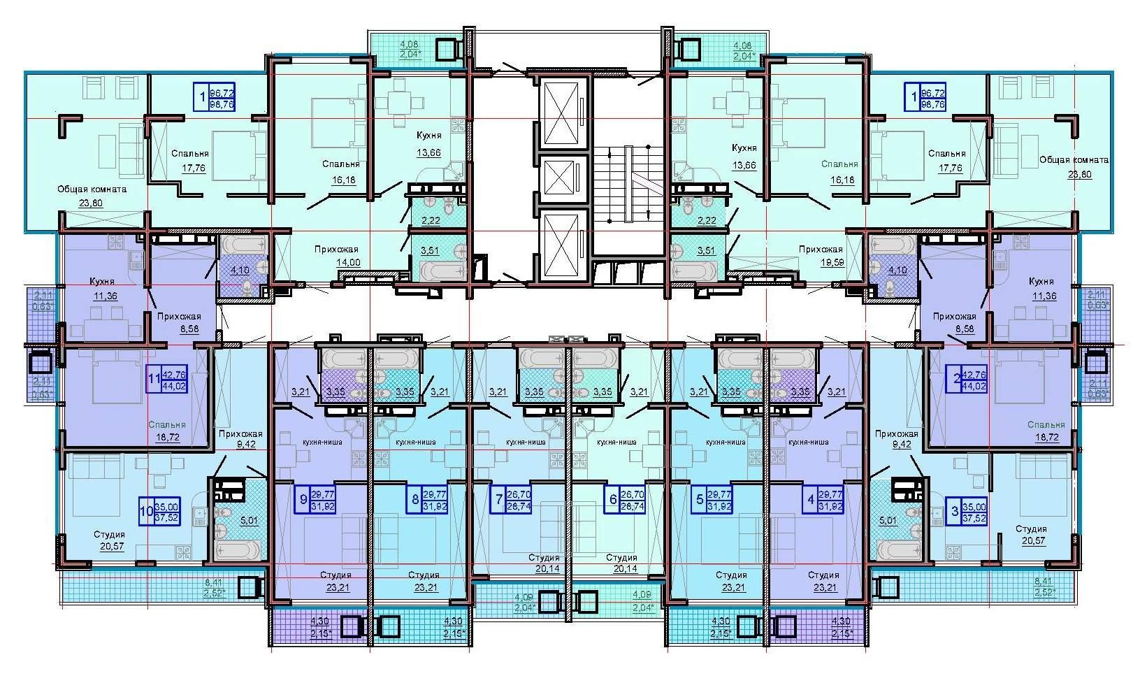 Тип 2, этаж 3, 11, 15, 23, 24