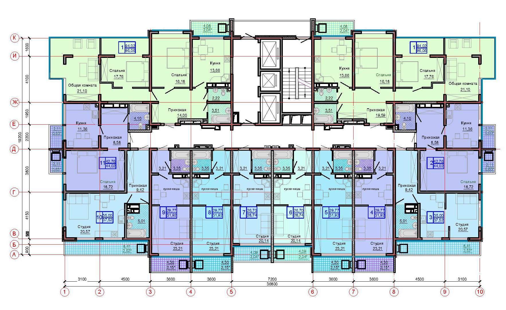 Тип 4, этаж 5, 9, 13, 17, 21